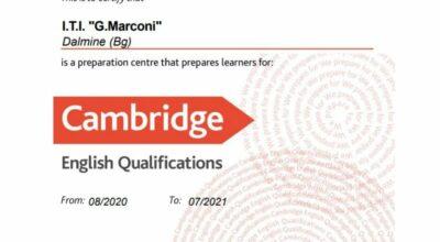 Il Marconi è Centro di Preparazione Cambridge English anche per l'A.S. 21/22